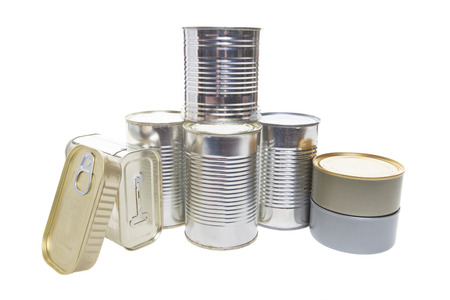 Different tin cans isolated on white.  photo