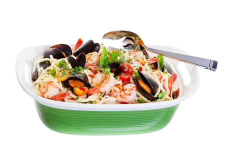 Seafood dish with mussels,shrimp and spaghetti.