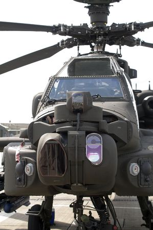 hellfire: Head on view of Boeing AH-64D Apache Longbow static on ground Stock Photo