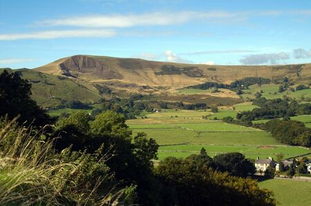 mam: View of Mam Tor in the Peak District from Pevril Castle Stock Photo