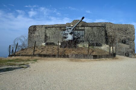 arsenal: Coastal gun emplacement used by Germans to defend the Normandy beaches Stock Photo