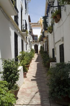 Street through old town of Marbella, Andalusia, Spain  photo