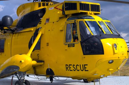 royal air force: Search & Rescue helicopter (SAR) on ground Stock Photo