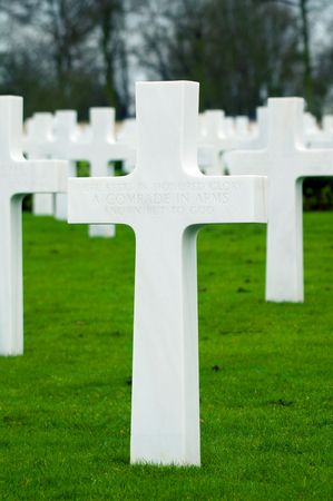 comrade: Grave Stones at the American Cemetery at Madingley, Cambridgeshire, England