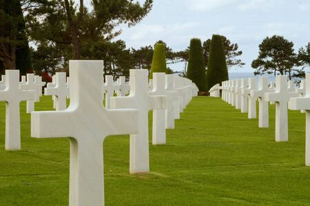omaha: Grave Stones at the American Cemetery at Omaha Beach, Normandy, France