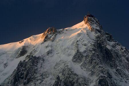 View of Aiguille Du Midi from Chamonix - landscape orientation photo