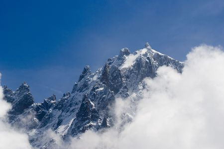 aiguille: View of Mont Blanc mountain range from Parc de Merlet in Chamonix