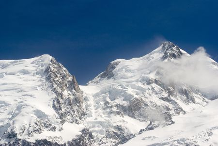 blanc: View of Mont Blanc mountain range from Aiguille Du Midi in Chamonix Stock Photo