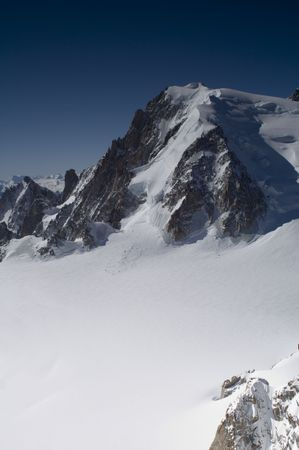 aiguille: View of Mont Blanc mountain range from Aiguille Du Midi in Chamonix - landscape orientation