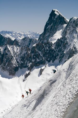 crevasse: Skier on Mont Blanc mountain range viewed from Aiguille Du Midi