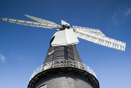 restored: View of windmill in Lincolnshire England - landscape orientation Stock Photo