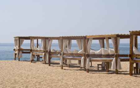 vilamoura: Massage table in Vilamoura, Portugal - landscape orientation Stock Photo