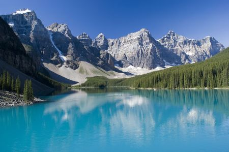 rockies: Lake Moraine in Banff National Park with Rockies in the background
