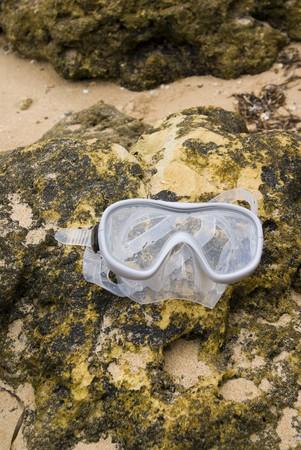 snorkelling: Snorkelling mask in on beach in Albufeira Portugal