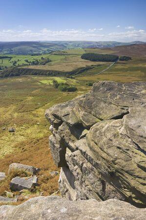 derbyshire: Stanage Edge in Peak District National Park Derbyshire England