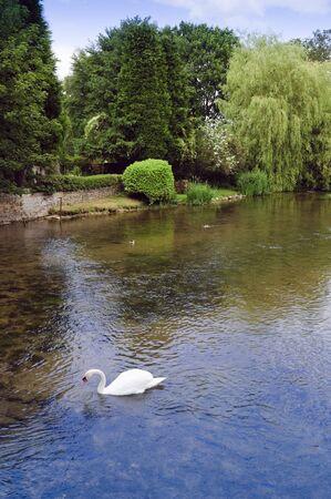 derbyshire: River Wye Ashford-in-the-Water Derbyshire England Stock Photo