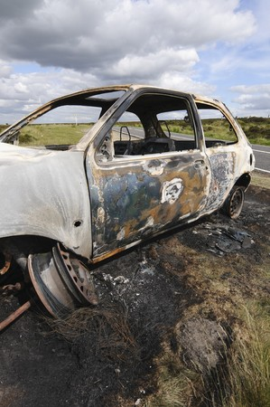 black moor: HATERSAGE MOOR 5 July 2010 UK: Stolen vehicle burnt out on Hathersage Moor in Peak District National Park Derbyshire England: UK 5 July 2010
