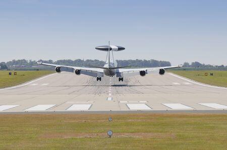 raf waddington: RAF WADDINGTON 19 JULY UK: Royal Air Force Boeing E3-D Sentry AEW.1 AWACS landing at RAF Waddington UK 19 JULY 2010