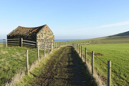 Cleveland Way coastal path near Staithes in North Yorkshire England photo