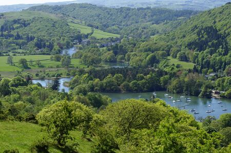 Lake Windermere from Cartmell Fell in Lake District National Park Cumbria England photo