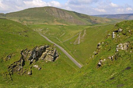 mam: View of Mam Tor from Winnats Pass near Castleton in the Peak District National Park Derbyshire England Stock Photo