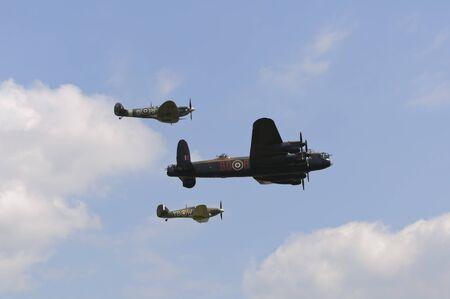 WADDINGTON, ENGLAND, UK - JULY 2: Battle of Britain Memorial Flight at Waddington International Air Show on July 2, 2011 in Waddington, England, UK.
