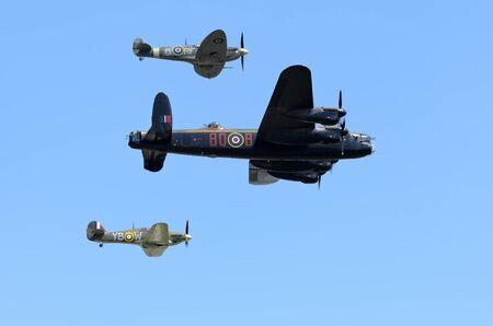 WADDINGTON, ENGLAND, UK - JULY 3: Battle of Britain Memorial Flight at Waddington International Air Show on July 3, 2011 in Waddington, England, UK.