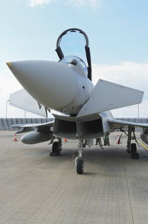 raf waddington: WADDINGTON, ENGLAND, UK - JULY 2: Eurofighter Typhoon at Waddington International Air Show on July 2, 2011 in Waddington, England, UK. Editorial