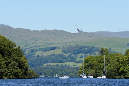WINDERMERE, ENGLAND, UK - JULY 24: Battle of Britiain Memorial Flight at Lake Windermere on July 24, 2011 in Windermere, England, UK.