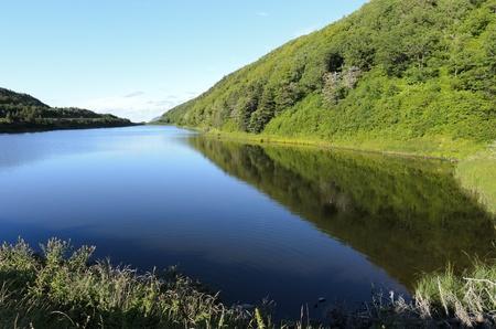 scotia: View across lake above near Cheticamp Cabot Trail Cape Breton Island Nova Scotia Canada Stock Photo