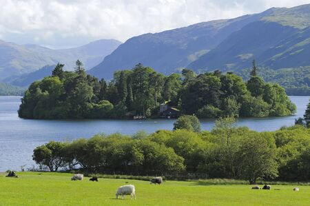 borrowdale: View across Derwent Water towards Borrowdale in Lake District National Park Cumbria England