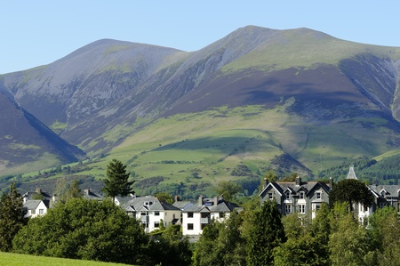 cumbria: View of Keswick and  Skiddaw in Lake District National Park Cumbria England