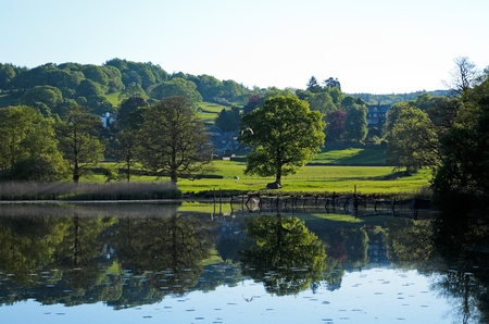 Near Sawery, England - May 26th, 2012  Esthwaite Water is a first class, well managed Trout fishery  It is a beautiful natural 280 acre water situated in the heart of the English Lake District with excellent facilities for boat or bank fishing    Stock Photo - 13829863