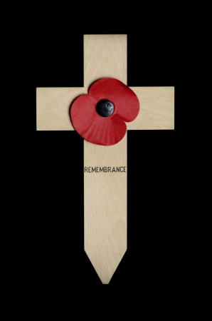 remembrance day poppy: Remembrance Day Poppy on wooden cross isolated on black background