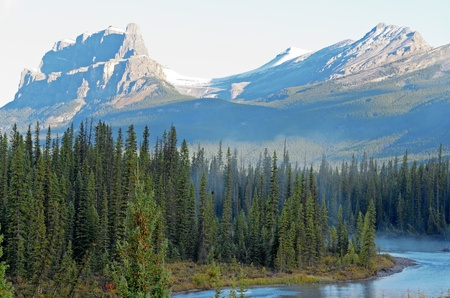 eisenhower: View of Eisenhower Peak and Castle Mountain from the Bow River in Banff National Park Alberta Canada