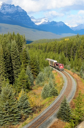 Banff, Canada - October 2nd, 2012: Canadian Pacific freight train travelling through the Bow Valley