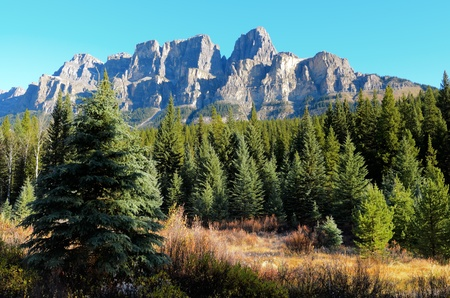 eisenhower: View of Eisenhower Peak and Castle Mountain from the Bow Valley in Banff National Park Alberta Canada