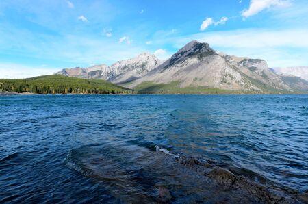 stoney: Lake Minnewanka or Water of the Spirits in Nakota Stoney Indian language Banff National Park Alberta Canada