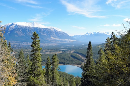 View of Mount Lady MacDonald and Grassi Lakes Alberta Canada photo