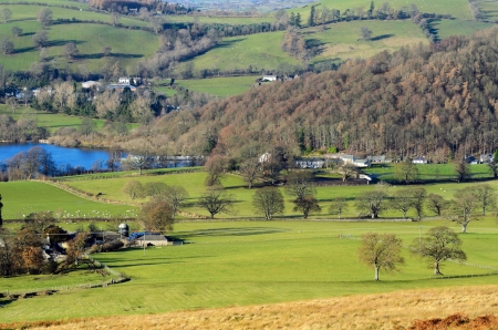 View of farmland around Pooley Bridge in the Lake District National Park Cumbria England Stock Photo - 21080041