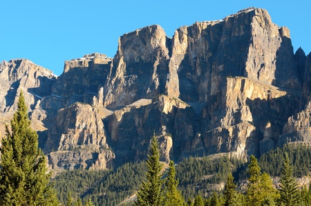 View of Castle Mountain from the Bow Valley in Banff National Park Alberta Canada photo