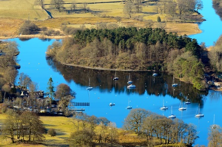 View of Lake Windermere from Gummers How in Lake District National Park Cumbria England Stock Photo - 21932330