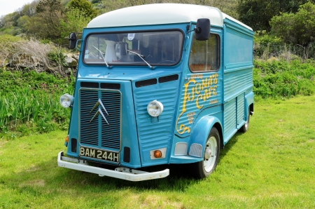 quin: Port Quinn, England - May 7th, 2013  Citroën H van being used as a mobile cafe in the small hamlet of Port Quin Cornwall England Editorial