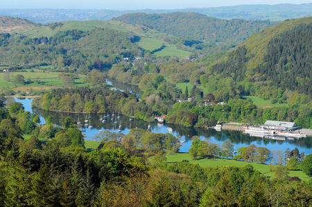 View of Lake Windermere from Gummers How in Lake District National Park Cumbria England Stock Photo - 24054661