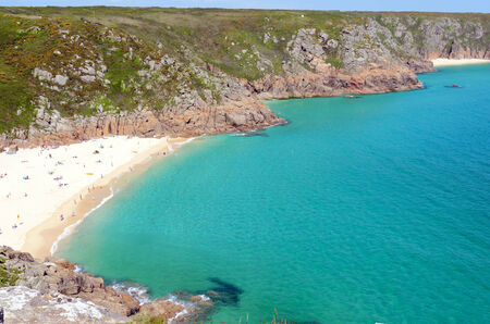 porthcurno: View of Porthcurno Beach near Penzance Cornwall England Stock Photo