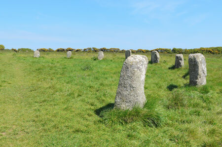 neolithic: The Merry Maidens neolithic stone circle near St Buryan in Cornwall England Stock Photo