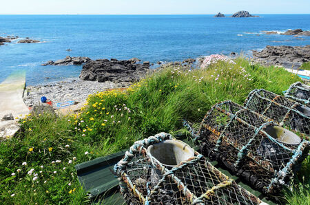 lobster pot: The Brissons from Priest Cove Cape Cornwall near St Just in Cornwall England