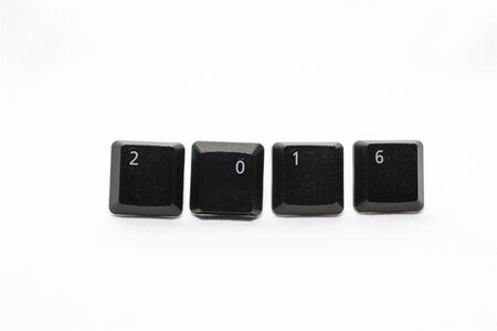 keyboard keys: New Year 2016 made with keyboard keys