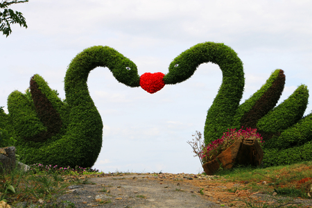 2 gardening swan with red hearts