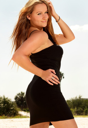 appealing attractive: Happy curvy sexy fashion woman model outdoors at beach